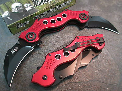 """8.5"""" Double Blade Karambit Assisted Open Knife - Red Handle 2382-RD zix"""
