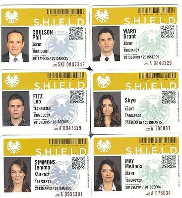 BLOWOUT SALE! Marvel's Agents Of S.H.I.E.L.D. SEASON 1 I.D. Badge Card Set Of 6