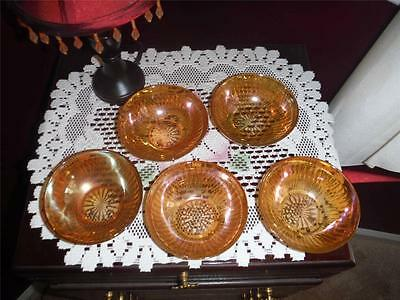 LOTOF 5 CARNIVAL GLASS BERRY BOWLS FRUIT BOWLS MARIGOLD UNKNOWN MAKER