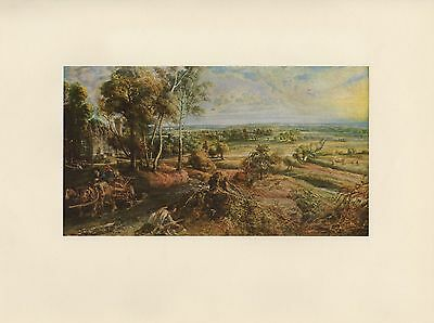 "1955 Vintage ""LANDSCAPE w/ CASTLE STEEN"" RUBENS Full Color Art Plate Lithograph"