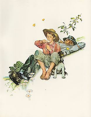 "1977 VINTAGE ""GRANDPA & ME"" SUMMER NORMAN ROCKWELL MINI POSTER COLOR Lithograph"