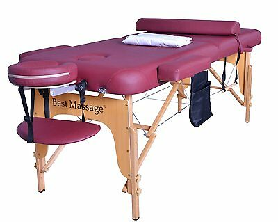 "2.5"" Massage Table Portable Facial SPA Bed W/Sheet+Cradle Cover+Bolster+Hanger J"