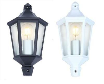 10W LED Outdoor Exterior 3 Sided Half Wall Lantern Black or White With Lamp