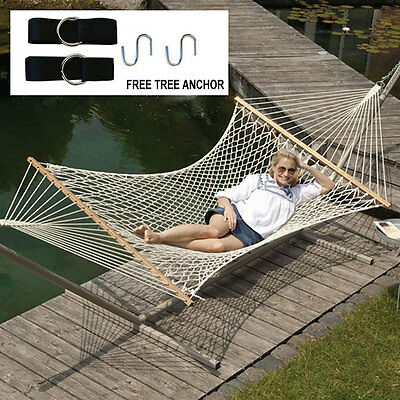 Double Hammock 2 Person Patio Bed Cotton Rope Outdoor + Hanging Tree Strap