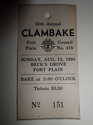 Vintage 1950 KNIGHTS OF COLUMBUS Clambake Ticket Stub Becks Grove FORT PLAIN NY