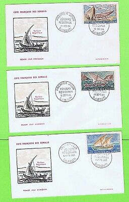 French Somalia 1964 Dhows (Air Values) on First Day Covers