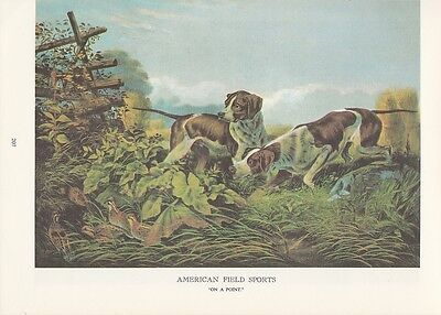 """1974 Vintage Currier & Ives HUNTING """"ON A POINT"""" HOUNDS DOGS COLOR Lithograph"""