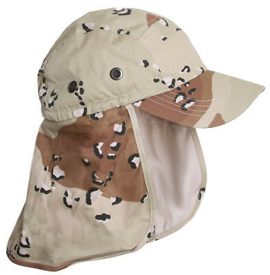 92d73648d50 Top Headwear Vacationer Flap Hat With Full Neck Cover - Desert Camo (Spots)