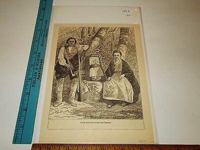 Rare Antique Original VTG 1895 North American Indian Squaw and Papoose Art Print