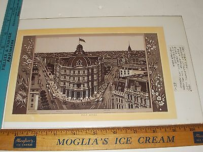 Rare Antique Original VTG 1895 Post Office Broadway NYC Engraved Litho Art Print