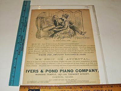 Rare Orig Antique 1891 Ivers & Pond Piano Co. Boston Mass. Advertising Art Print
