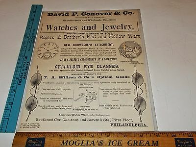 Rare Original VTG David F Conover & Co. Watches Jewelry & Glasses Ad Art Print