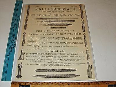 Rare Orig VTG Aikin Lambert & Co. Gold Pens Watches Tooth picks NYC Ad Art Print