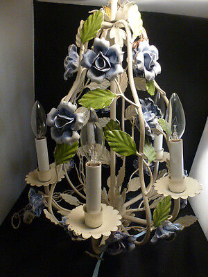 STUNNING  Birdcage Chandelier with Handpainted  Flowers  CREAM AND BLUE / WHITE