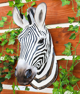 Savannah Stripe Zebra Head Bust Hanging Wall Mount Home Decor Statue Collectible