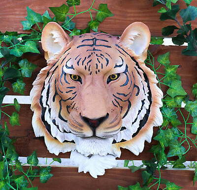 Orange Bengal Tiger Head Bust Hanging Wall Mount Home Decor Statue Collectible