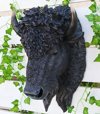"North American Bison Buffalo Head Bust Hanging Wall Mount Home Decor Statue 19""H"