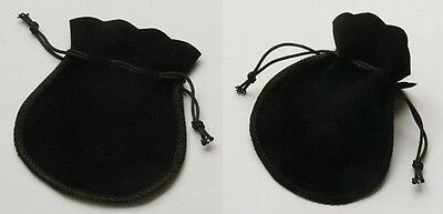 "12 Small BLACK GIFT Jewelry Drawstring Bags 2-3/4"" x 3"" Flocked Velveteen Pouch"