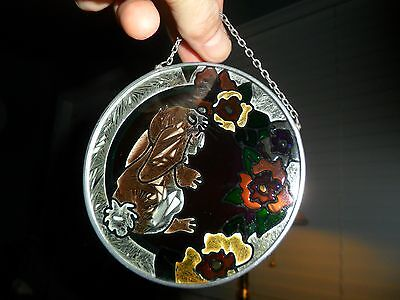 Super Cute Bunny Rabbit Sniffing Flowers Stained Glass Window Hanging 4""