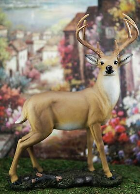 "Wildlife 8 Point Trophy Buck Statue 15""H Outdoor Hunter Whitetail Deer Figurine"