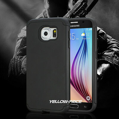 Samsung GALAXY S6 Case Heavy Duty Shock Proof Dual Layer Armour Black