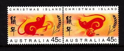 1996 Christmas Island Year of the Rat  MUH Pair