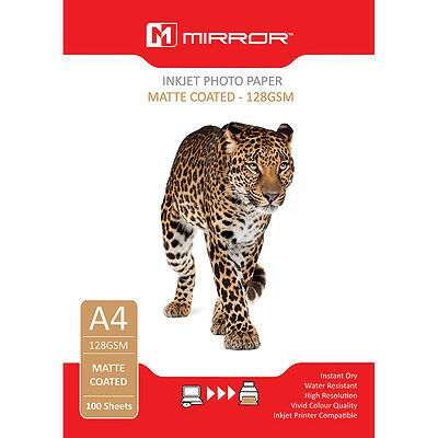 100 x A4 Sheets 128gsm Matte Photo Paper for Inkjet Printers by Mirror