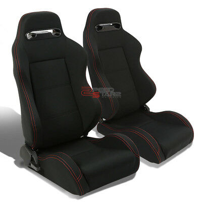Red Stitch Sport Cloth Fully Reclinable Black Racing Seats+Adjustable Sliders