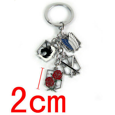 Hot Anime Attack on Titan Keychain Multi Emblems Badges Keyring Gift