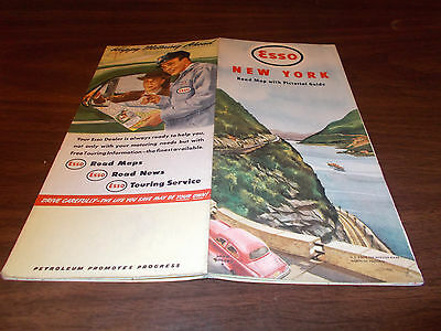 1949 Esso New York Vintage Road Map / Great Cover Graphics !!