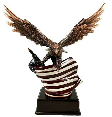 Bald Eagle With American Flag Bronze Electroplated Figurine With Base Statue