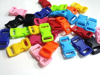 "12pcs 3/8"" Curved Side Release Plastic Buckle  for Paracord Bracelet Mixed color"