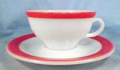 Pyrex Flamingo Pink Cup & Saucer Coral Spray Mist Band on White Corning Vintage