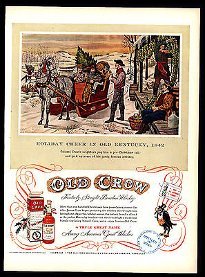 Original 1952 Old Crow Whiskey Christmas In Old Kentucky 1842  Vintage Print Ad