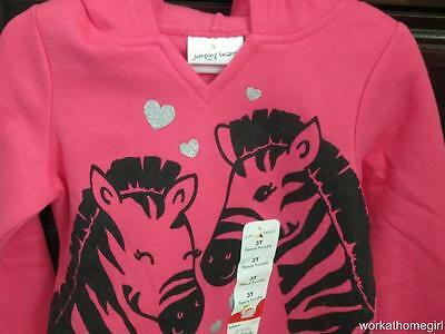 NWT/JUMPING BEANS 3T Girls ZEBRAS/ Hoody/Brand New/GLITTER Hearts/Adorable
