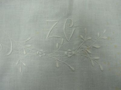 "ANTIQUE WHITE PURE LINEN BED SHEET with EMBROIDERED MONOGRAM ""ZC"" 86x110"