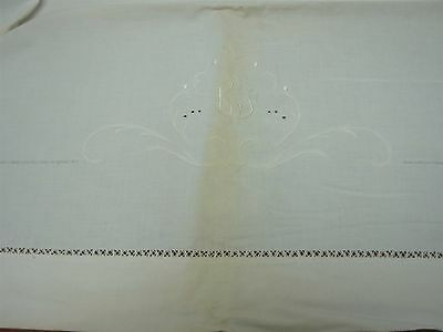 """ANTIQUE WHITE PURE LINEN BED SHEET w EMBROIDERED FLOWER & MONOGRAM """"BF"""" 88x106"""
