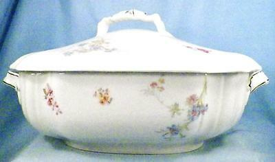 Antique Leonard Vienna Austria Soup Tureen Wildflowers Porcelain Covered Gold