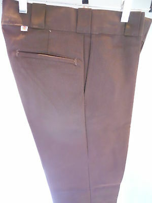 Nos Vintage Dickies Brown Retro Pants Uniform Slacks Trousers Youth Boys 12 Slim