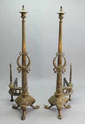 "Monumental 19th C. Pair of 36"" French Directoire Brass Andirons    antique"