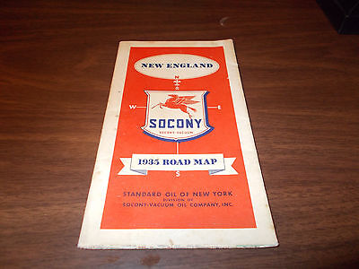 1935 Mobil New England Vintage Road Map