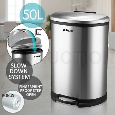 50L Stainless Steel Fingerprint  Proof Step open Foot Pedal Rubbish Garbage Bin