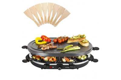 Traditional Swiss Raclette 8 Person Non Stick Indoor BBQ Grill By Andrew James