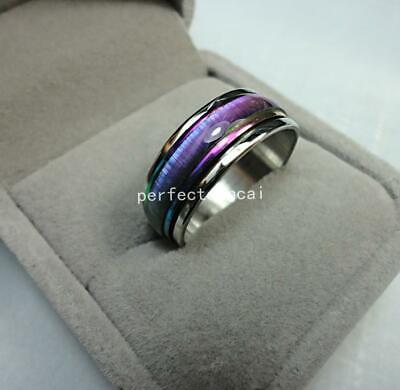 Rainbow Cat-eye turn stainless steel ring jewellery for women men free shipping