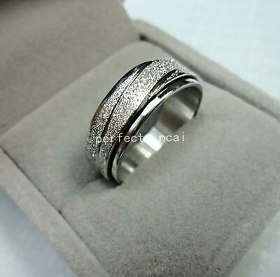 Frosted silver turn stainless steel ring jewellery for women men free shipping
