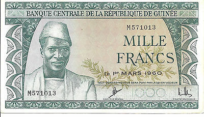 1960 Guinea 1000 Mille Francs Uncirculated Note; *CU*; P15