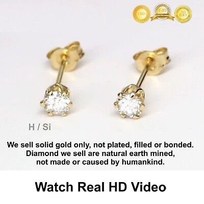 0.22 ct H / si 2 Round Cut Earth Mined Diamond Pair Stud Earrings 14K Solid Gold