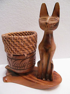 Vintage Hand Carved Wood Egyptian Cat w/ Woven Wicker Rattan Wood Basket Holder