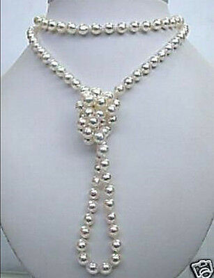 Superb natural white salt water pearl necklace 48 inches