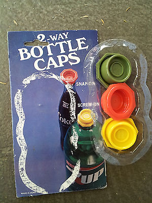 Vintage 1970s 2 Way Plastic Bottle Caps -Package of Three